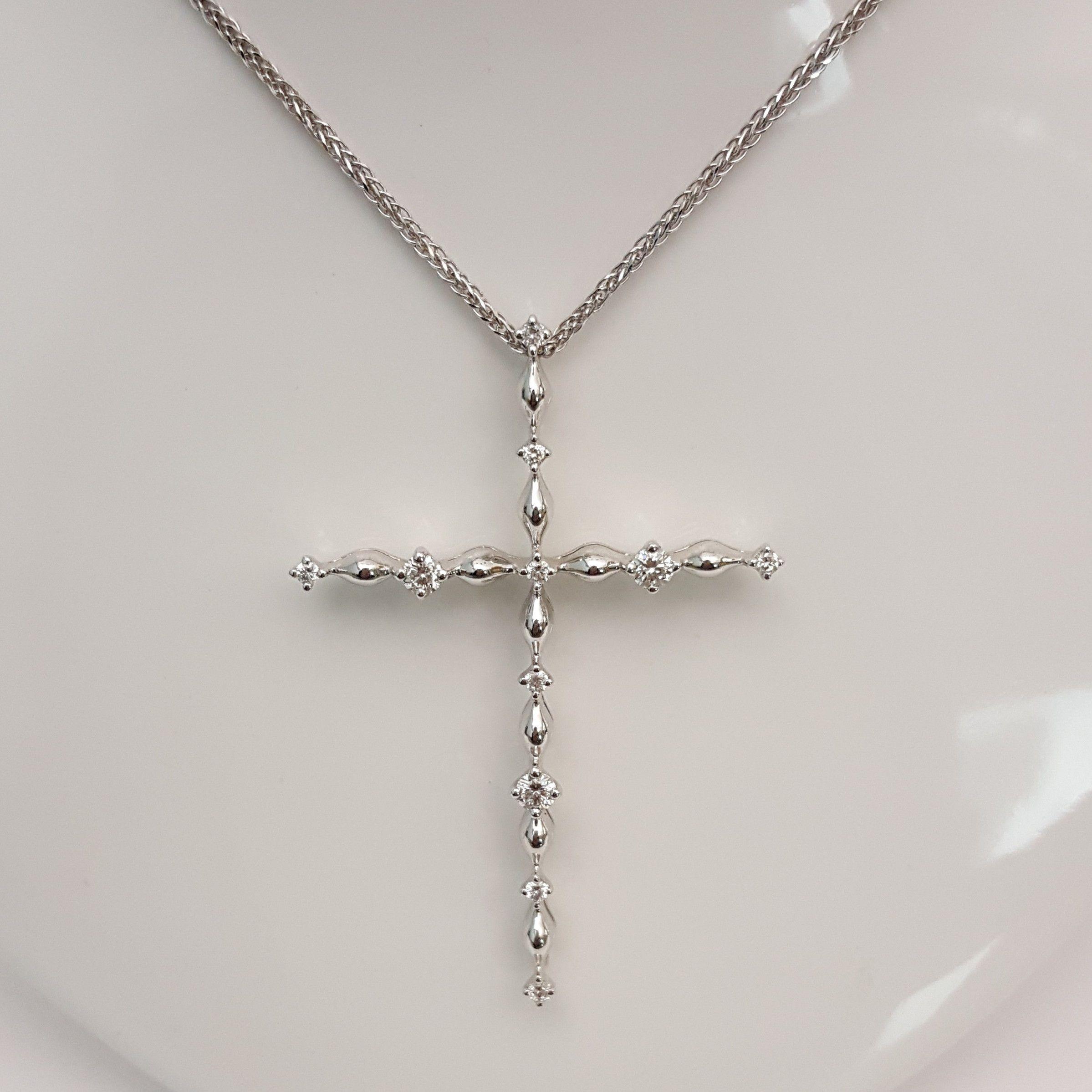 Collana Oro 43 In E Dtp0695 Donna Diamanti Croce 7gYfyb6