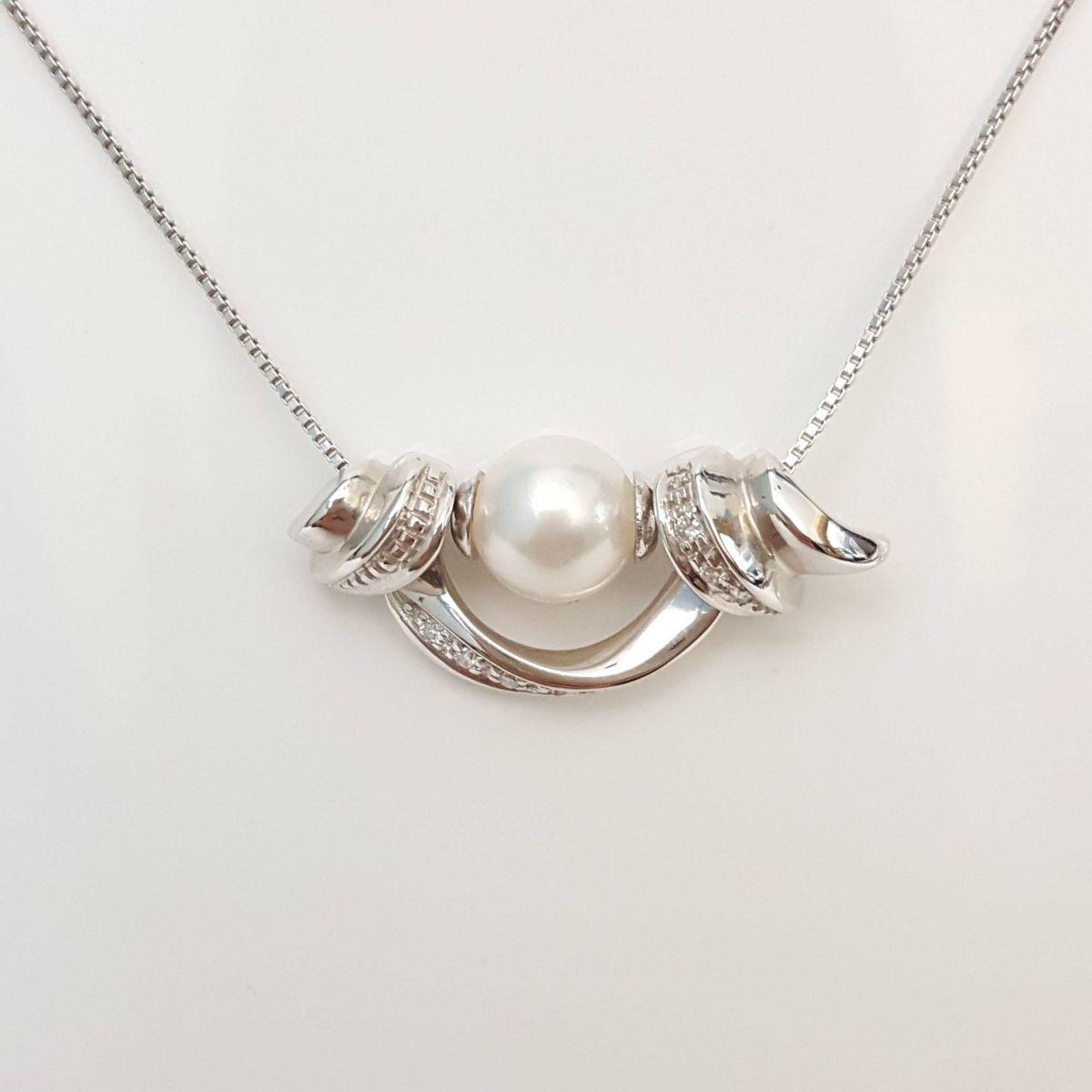 Collana Yukiko CL265 in Oro Bianco con Perla e Diamanti