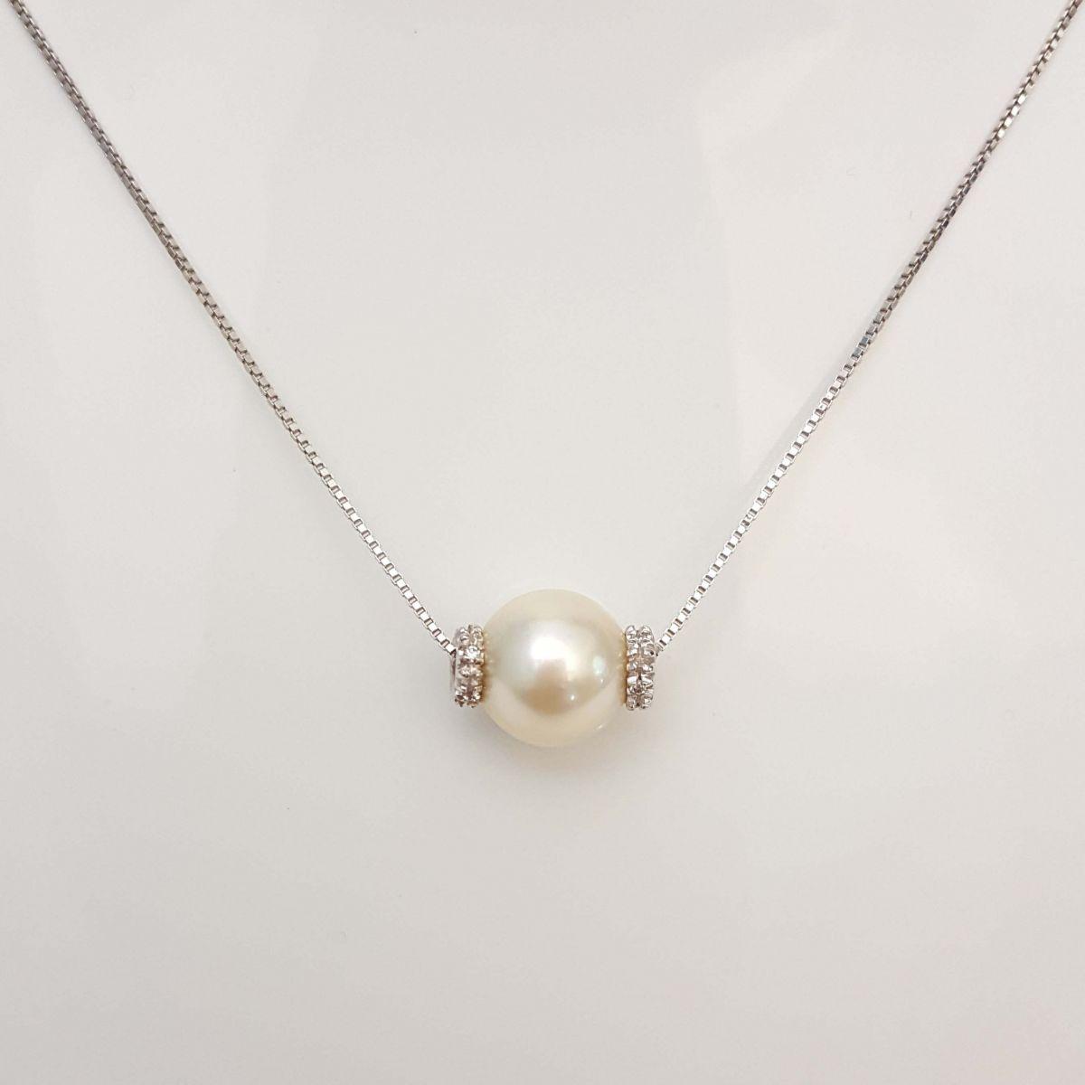 Collana Yukiko CL100 in Oro Bianco con Perla e Diamanti