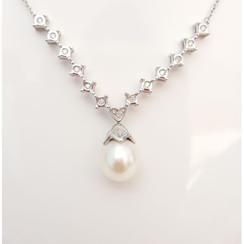 Collana Yukiko CL292 in Oro Bianco con Perla e Diamanti