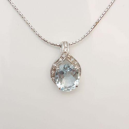 Collana Fogi COL8577/OB in Oro Bianco con Diamanti e Acquamarina