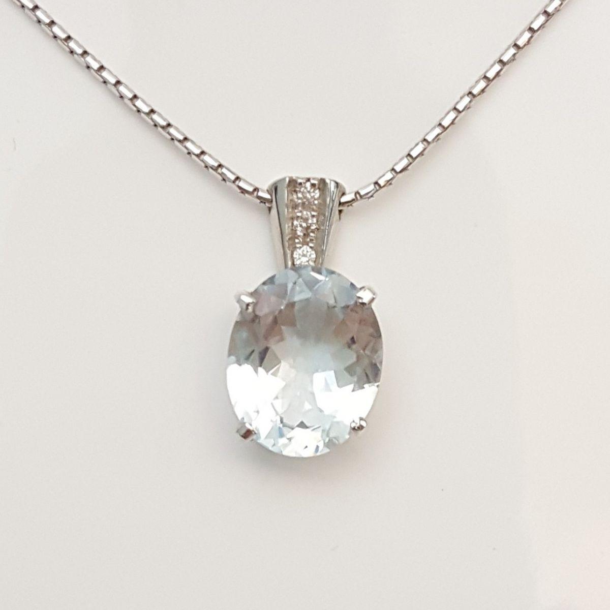 Collana Fogi COL8543/OB in Oro Bianco con Diamanti e Acquamarina