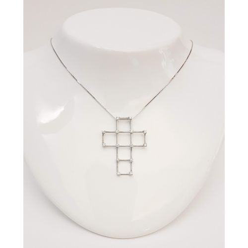 Collana Fogi COL4/2/OB in Oro Bianco con Croce con Diamanti