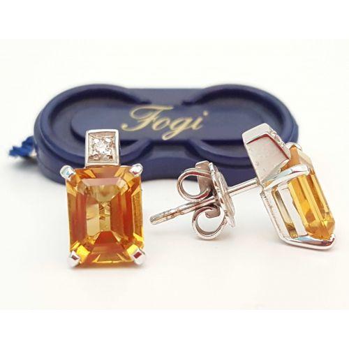 Orecchini Fogi OR9456/CI in Oro Bianco con Diamante e Topazio Citrino