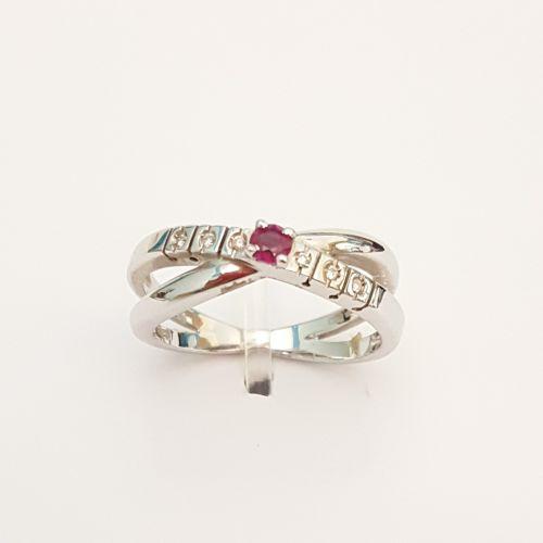Anello Kiara in Oro Bianco KLID650R con Diamanti e Rubino