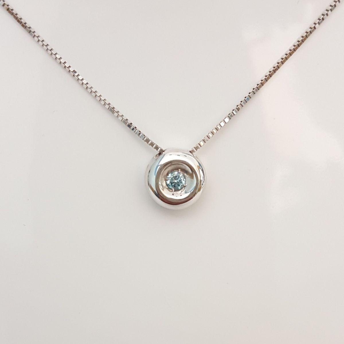 Collana Kiara in Oro Bianco e Pendente con Diamante Blu KCLD408