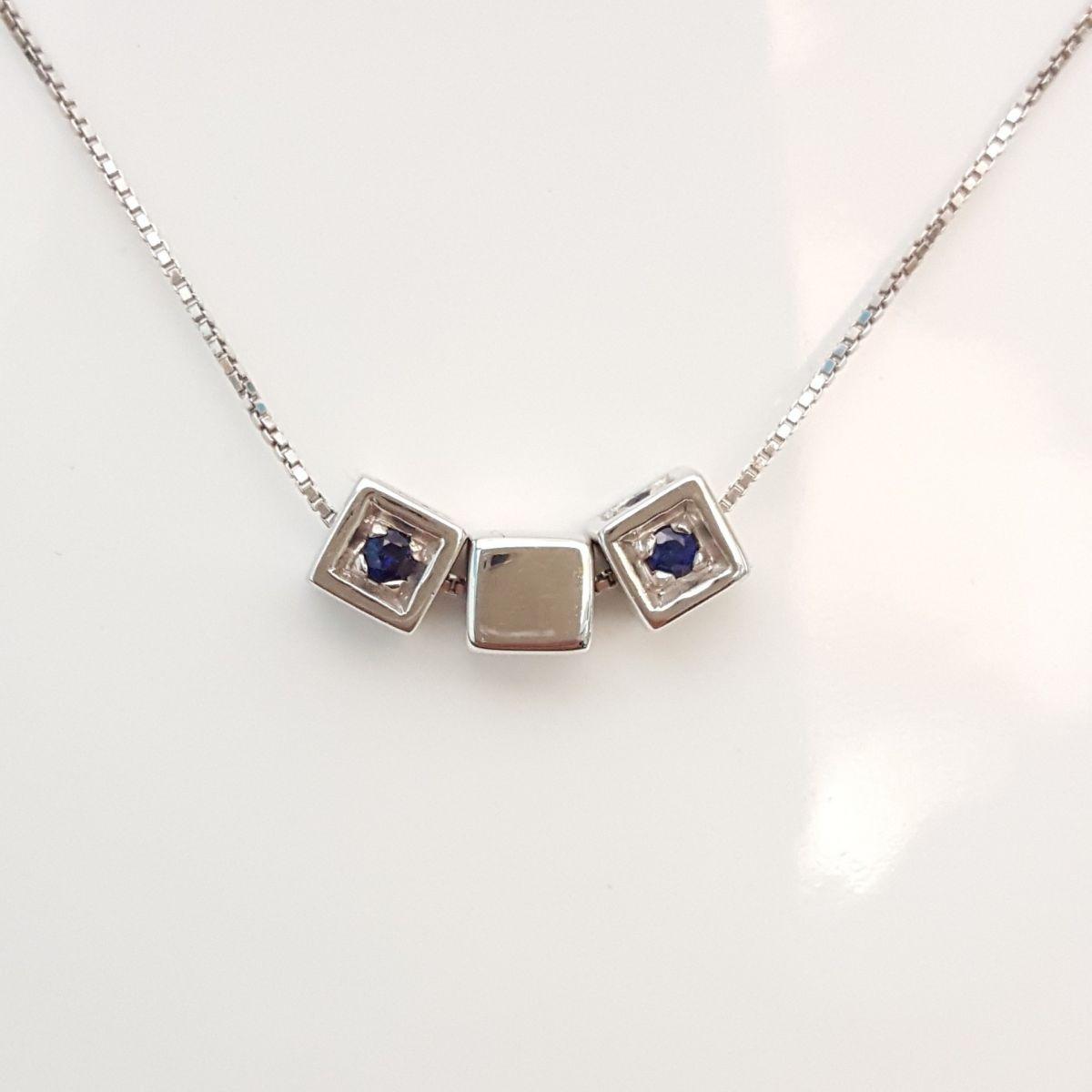 Collana Kiara in Oro Bianco e Pendente con Zaffiri e Diamanti KCLD538