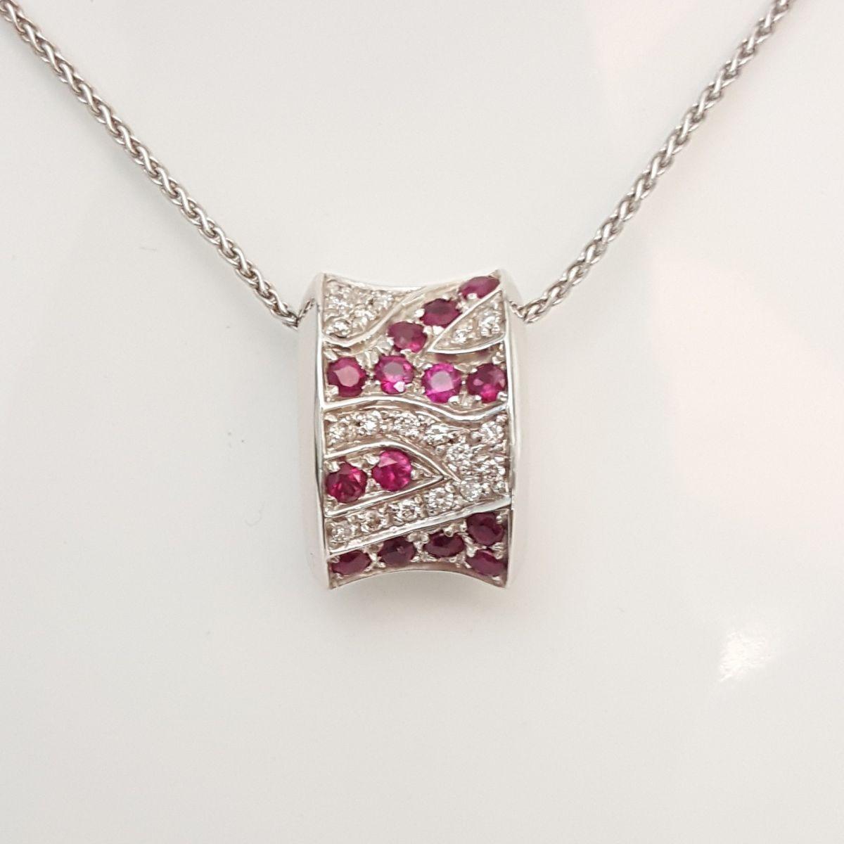 Collana Yukiko KCLD431-R in Oro Bianco con Pendente con Diamanti e Rubini
