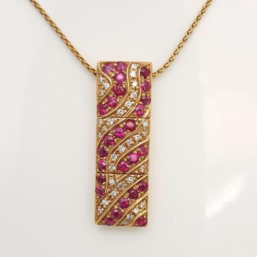 Collana Yukiko KCLD4256-R in Oro con Pendente con Diamanti e Rubini