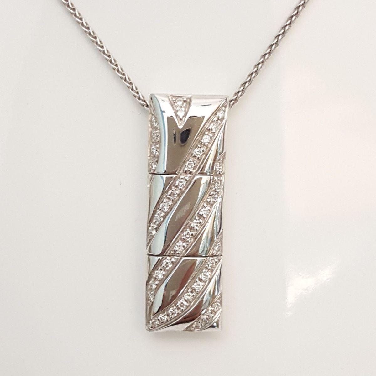 Collana Yukiko KCLD483 in Oro Bianco con Pendente con Diamanti