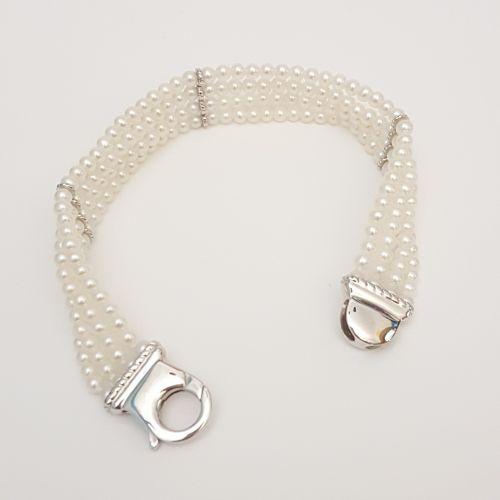 Bracciale di Perle Kiara BR159 con Chiusura in Oro Bianco