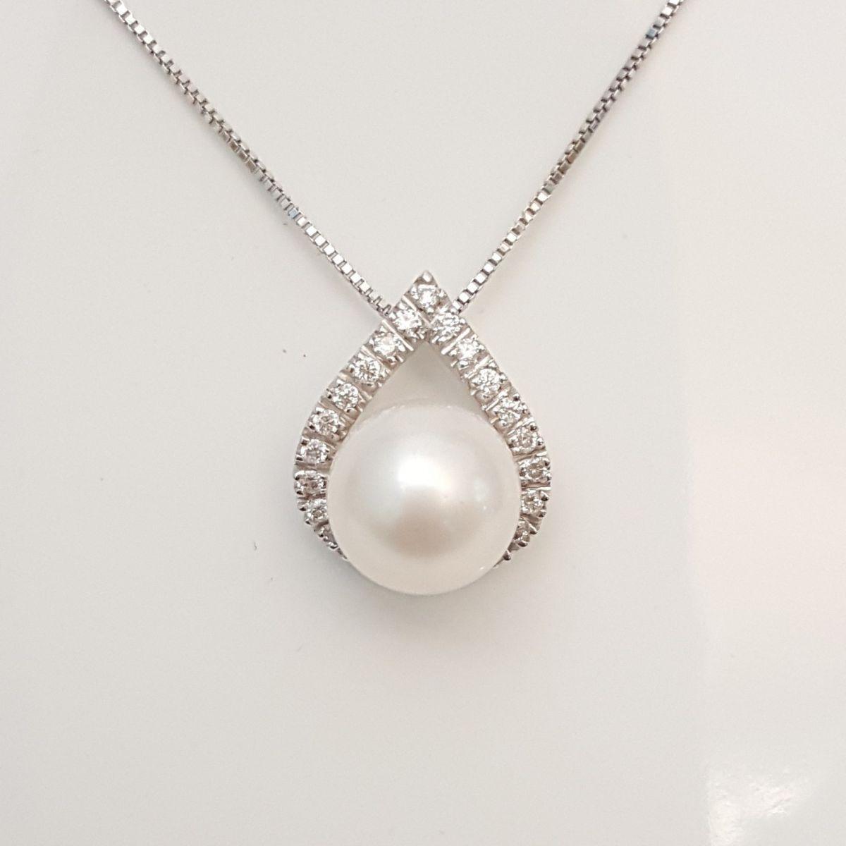 Collana Davite & Delucchi CLN009738 05 in Oro Bianco con Perla e Diamanti