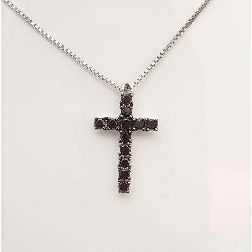Collana Davite & Delucchi CLN010357 BL in Oro Bianco con Croce con Diamanti Neri