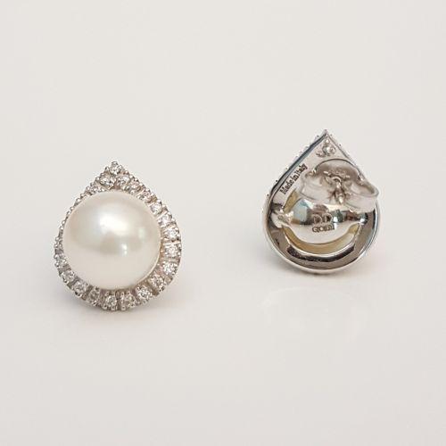 Orecchini Davite & Delucchi BB008084 05 in Oro Bianco con Perla e Diamanti