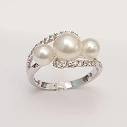 Anello Donna Oro P755 in Oro Bianco con Diamanti e Perle