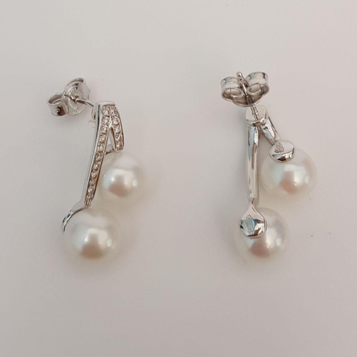 Orecchini DonnaOro DPOF0822.018 in Oro Bianco con Diamanti e Perle