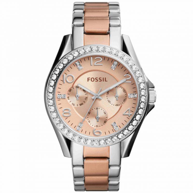 Orologio Fossil Riley ES4145 Multifunzione Donna in acciaio bicolore