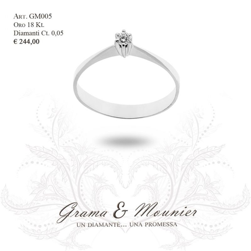Anello Solitario in oro 18Kt Grama&Mounier Art.GM005