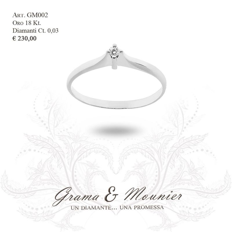 Anello Solitario in oro 18Kt Grama&Mounier Art.GM002
