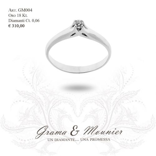 Anello Solitario in oro 18Kt Grama&Mounier Art.GM004