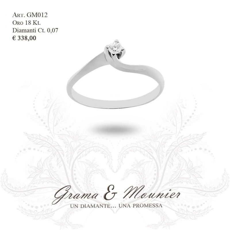 Anello Solitario in oro 18Kt Grama&Mounier Art.GM012