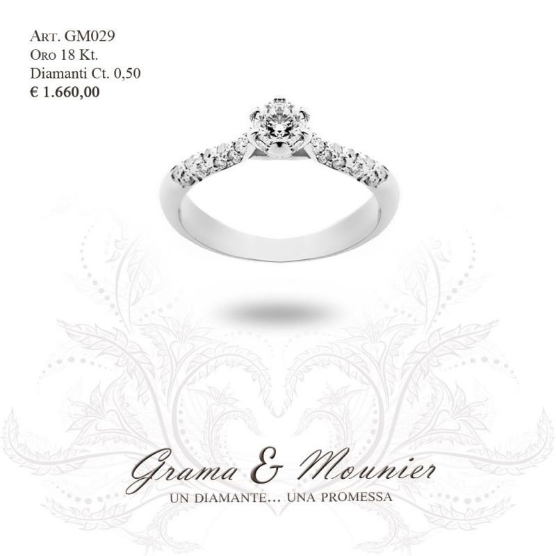 Anello Solitario in oro 18Kt Grama&Mounier Art.GM029