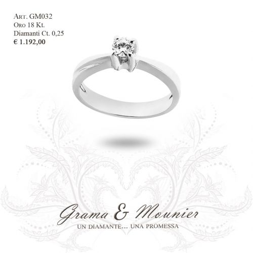 Anello Solitario in oro 18Kt Grama&Mounier Art.GM032