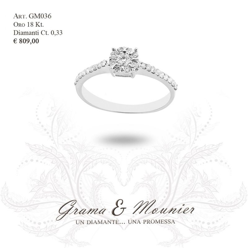 Anello Solitario in oro 18Kt Grama&Mounier Art.GM036